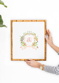 Custom-Watercolor-Crest-Artwork-Gold-Framebridge-Frame-The-Welcoming-District