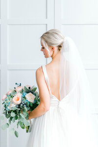 Editorial Bridals during a southern wedding indoors in August