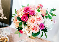 Flower bouquet with blush and dark pink roses