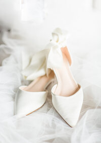 white wedding shoe details