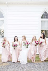 Bride and her bridesmaids, pink wedding inspiraiton