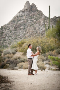 An engagement session in the gorgeous desert near the Four Seasons with Pinnacle Peak as the backdrop. A very scenic couple's session.