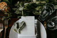 White place setting with bistro napkin