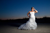 bridal portrait on the beach at huntington beach state park