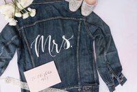 denim jacket with mrs calligraphy in white ink
