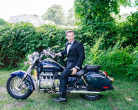 Charleston Wedding Groom on Bike