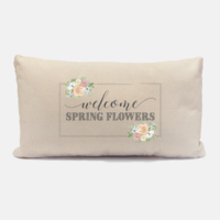 Welcome Spring Flowers Lumbar Pillow Mockup
