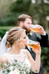 Brewery Themed Reception Bride and Groom Toast
