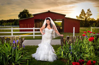 bridal portrait in front of the red bark at wildberry farm in marion, south carolina
