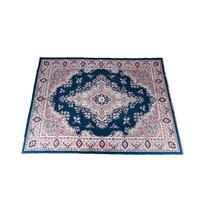 Pink and navy vintage area rug.