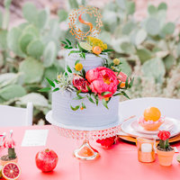 charcoal gray wedding cake with greenery and pink peonies planterra conservatory detroit mi
