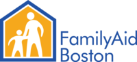 yellow and blue Familyaid boston logo