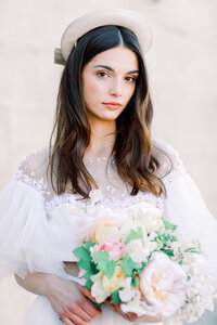 A destination wedding photographer captures a bridal portrait of a French bride at her Paris wedding.