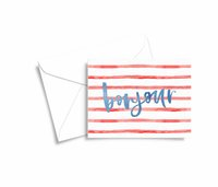 bonjour stripes preppy parisian greeting card mockup