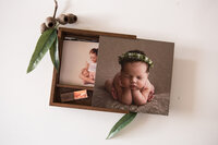 Custom newborn portrait box with professional prints and USB of digital images