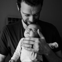 dad and baby in black and white
