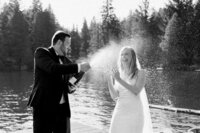 Seattle Wedding Photographer and Videographer Bride and Groom Portraits at Gold Creek Pond Elopemenet