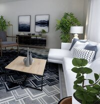 White and black moody living room rendering
