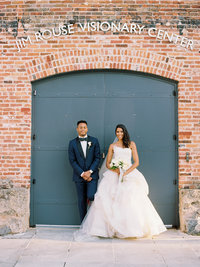 Bride and Groom at Summer wedding at the American Visionary Arts Museum