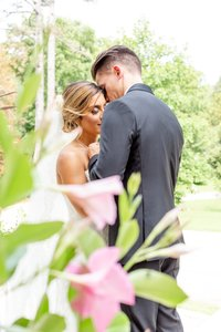 Bride and groom share a special moment together at Elsie Perrin Williams Estate