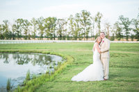 bride and groom at golf club