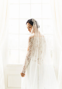 manchester wedding photographer at allerton castle - bride in lace wedding dress luxury