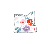A painted floral throw pillow.