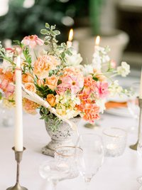 pink orange wedding flowers