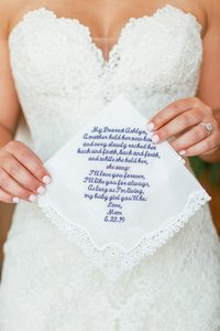A beautiful notes on a handkerchief for the bride on her wedding day in charleston