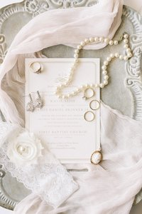bridal details styled on a vintage tray at dallas union station by catie ann photography