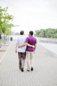 Photo of gay engagement session on the Georgetown waterfront.  Photo by top Washington DC wedding photographer Jalapeno Photography.