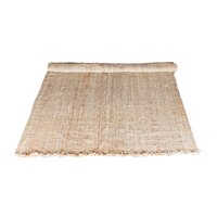 Jute rug with tassels on ends.