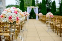 Outdoor garden decorated for wedding