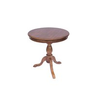 Caramel colored, wooden, 3 pedestal table with large circular top.
