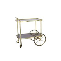 Vintage beverage cart with gold and wood accents.