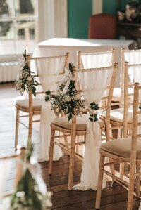Prestwold Hall chiffon drapes chiavari chair