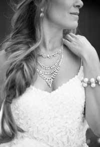 Bride with statement necklace black and white photo
