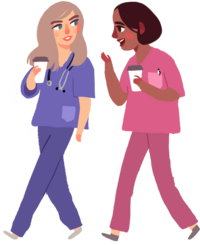 two illustrated nursing students in pink and purple scrubs