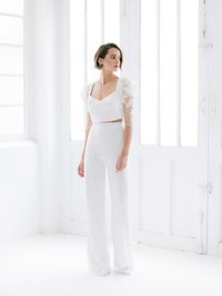 NOOR Rime Arodaky elegant bridal white high waist palazzo pants in French crepe 02