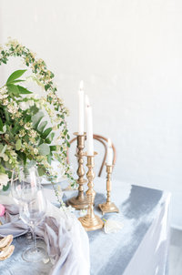 Blue and Gold Candle Wedding Table Scape