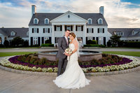 bride and groom pose for portrait at pine lakes country club in myrtle beach