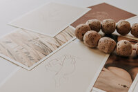 Notecards and wooden beads