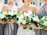 Bride and Bridesmaids, Florals Detail Portrait