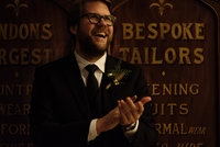Groom at Town Hall hotel Bethnall Green. Alternative wedding photographer