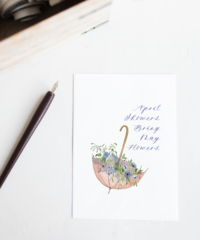 April Showers Bring May Flowers Watercolor Greeting Card