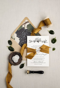 Vineyard wedding invitation that is simple and elegant. Paired with a beautiful vintage envelope liner, ribbon and wax seal for a beautiful invitation suite.