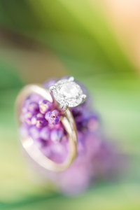 Gold Engagement Ring on a Flower