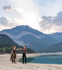 sunset in Kananaskis engagement session couple dancing photos