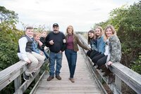 beach, bridge, family, grandparents, grandchildren