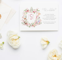 Watercolor Wedding Monogram Invitation